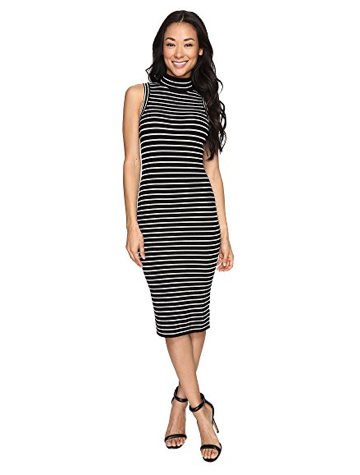 MICHAEL Michael Kors Neck Stripe Rib Dress
