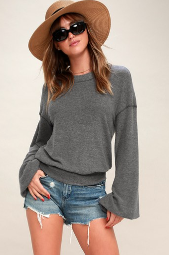 TGIF CHARCOAL GREY SWEATSHIRT FREE PEOPLE