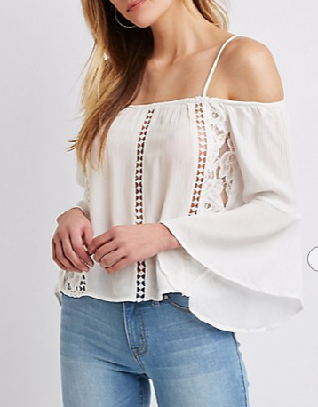 Crochet Detailed Cold-Shoulder Knit Top