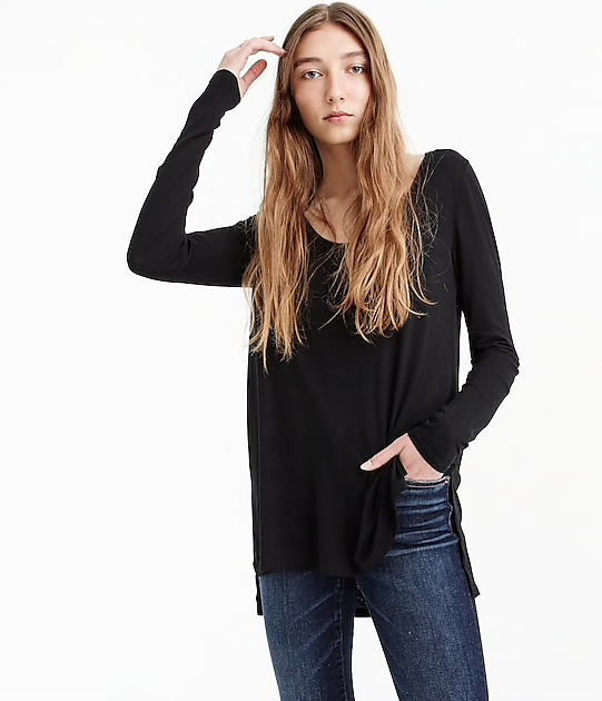 Drapey scoopneck long-sleeve T-shirt