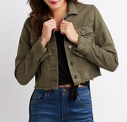 Refuge Frayed Hem Cropped Jacket
