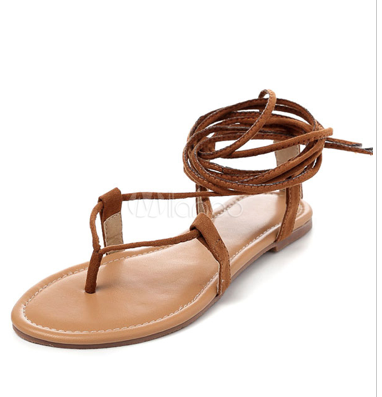 Brown Gladiator Sandals 2018 Suede Lace Up Flat Sandal Shoes For Women