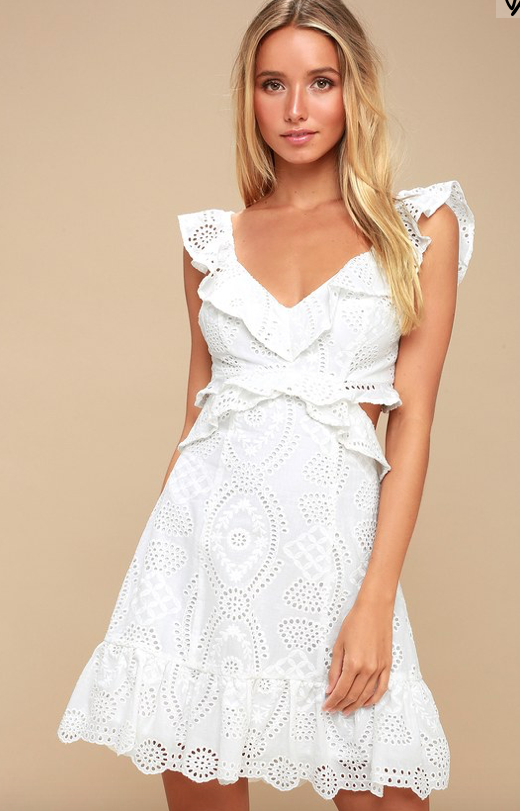 ELORA IVORY EYELET CUTOUT SKATER DRESS ASTR THE LABEL