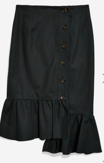 Fishtail Hem Midi Skirt