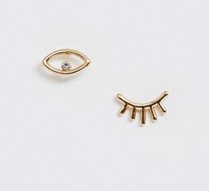 Pieces mismatched eye lash stud earring