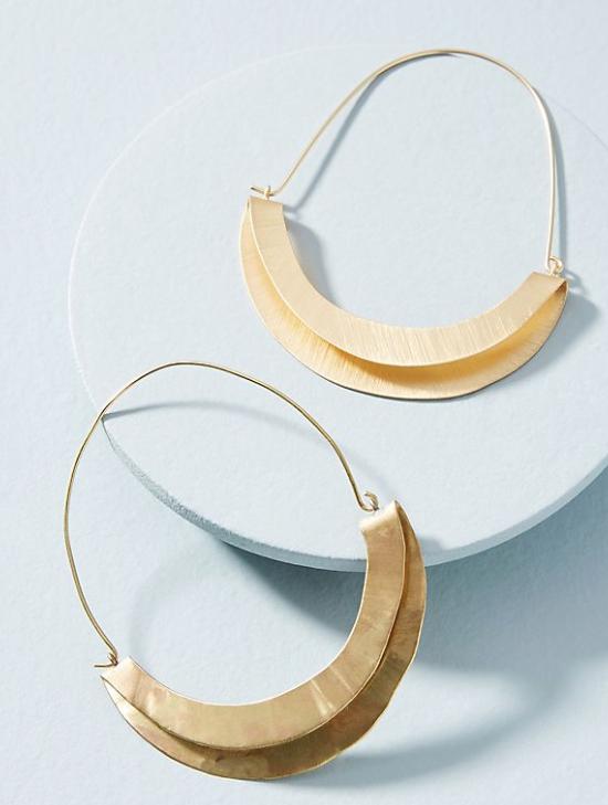 Folded Crescent Demi Hoop Earrings