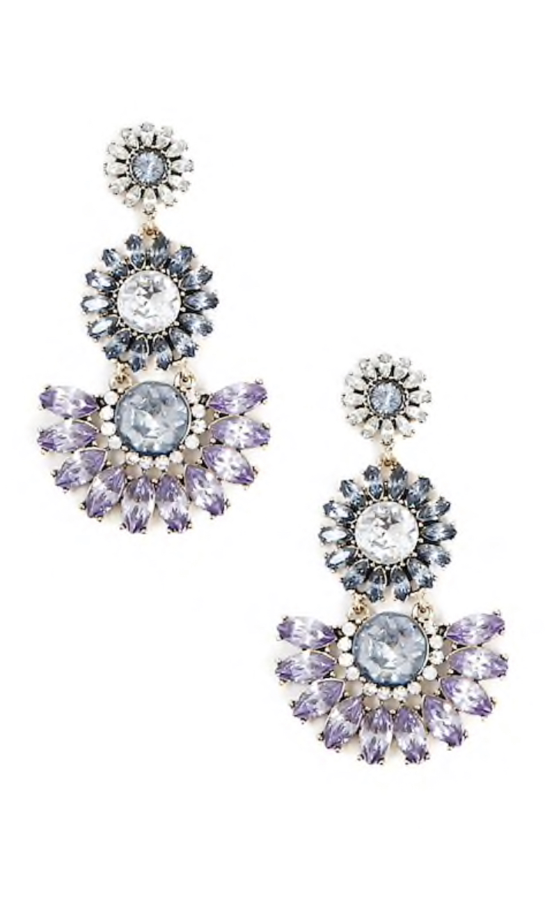 Floral Faux Gem Drop Earrings