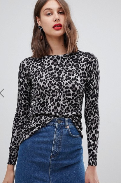 Warehouse leopard print sweater in gray
