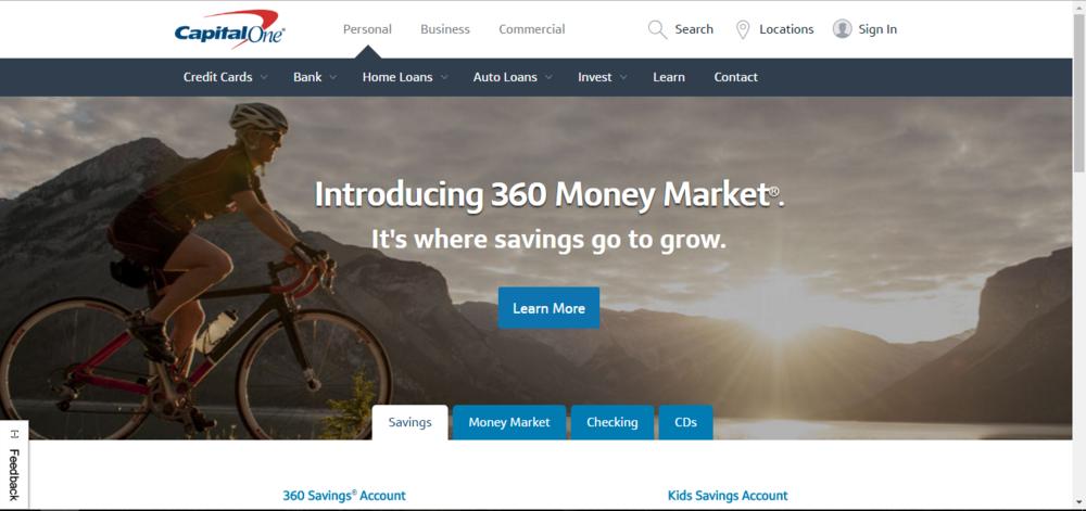 Capital One home screen on bank accounts