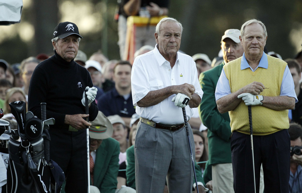 Player, Palmer and Nicklaus on the tee in 2012