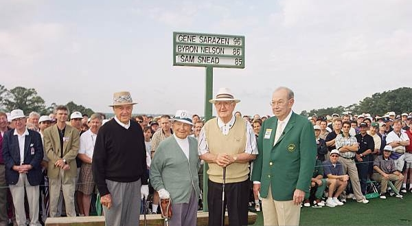 Snead, Sarazen, Nelson and Chairman Jack Stephens before the 1998 Masters.