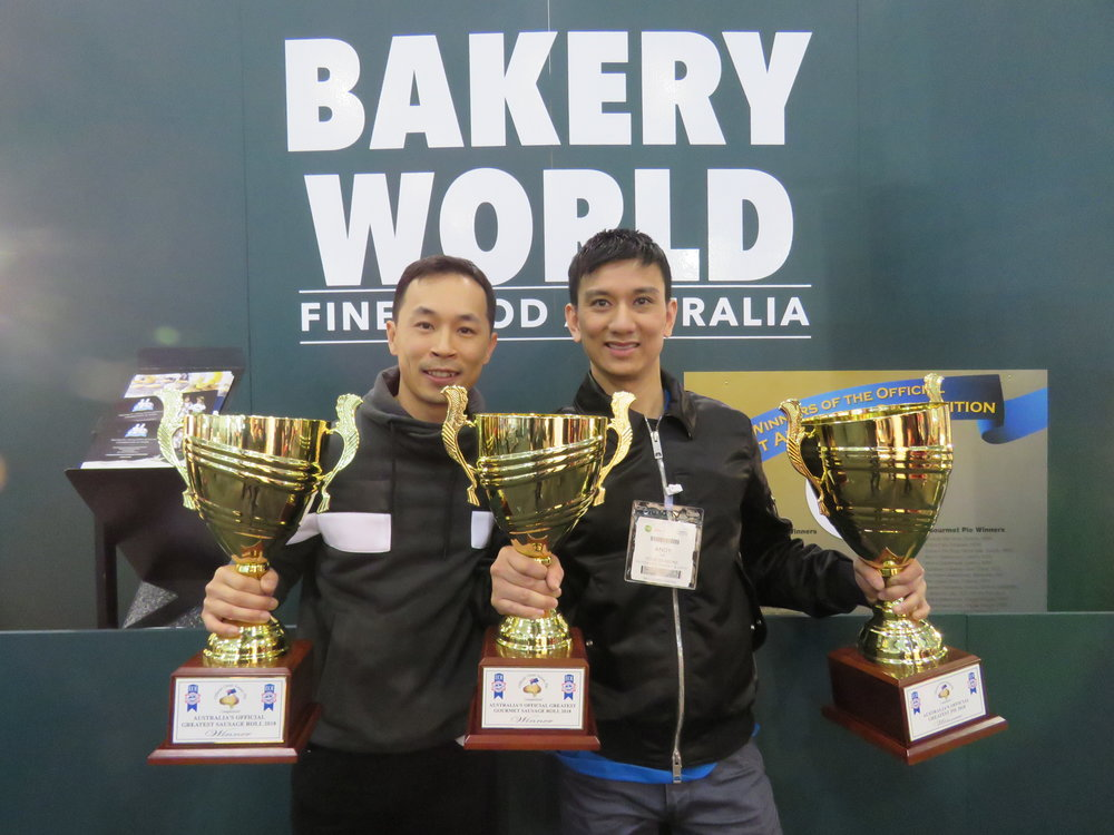 Winner of 2018 competition, Andy Lee (right) from Four Seasons Patisserie in Kelmscott, Western Australia. Andy has now won this competition twice.