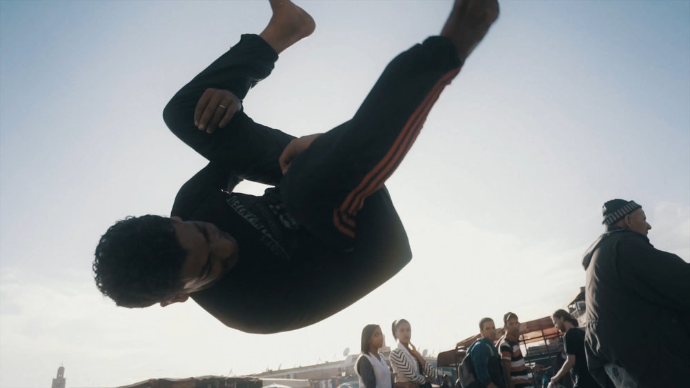 Parkour and freerunning artist on Djemaa el Fna