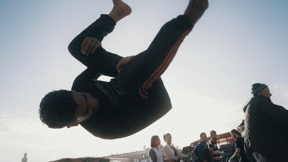 Parkour and freerunning artist on Djemaa el Fna