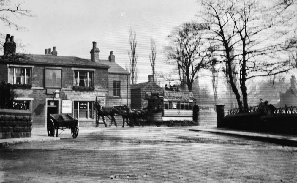 Original Oak Inn and Horse Tram, circa 1890