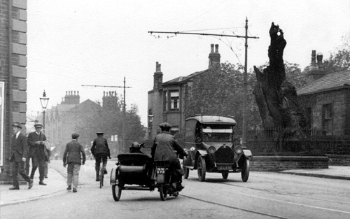 Shire Oak and Motorcycle, 1923