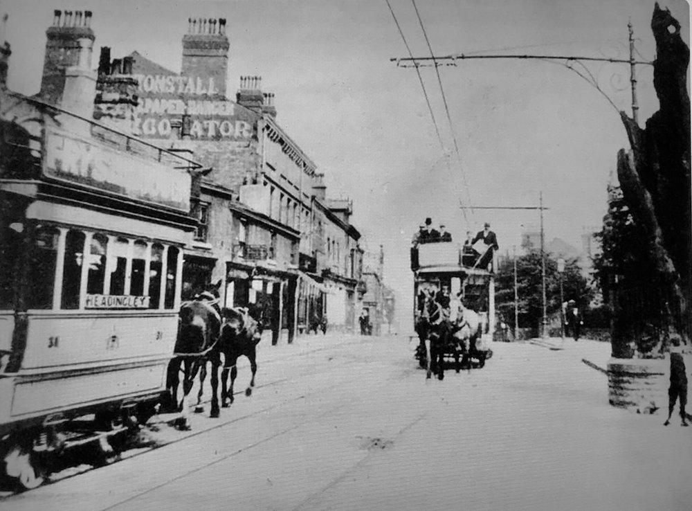 Otley Road with Horse Trams, circa 1890