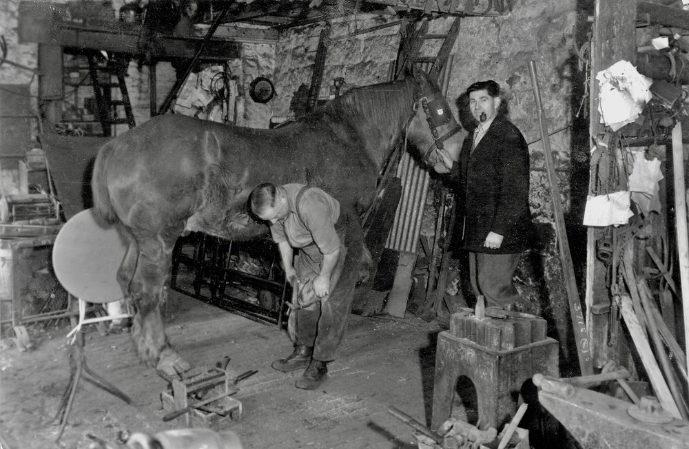 Weetwood Lane Forge with Blacksmith W.A Hartley (demolished)