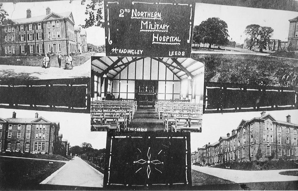 Hospital, showing chapel interior, postcard, c1917