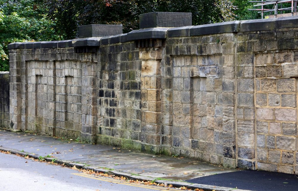 The Garden Wall, northern exterior, with entrance, Spring Road