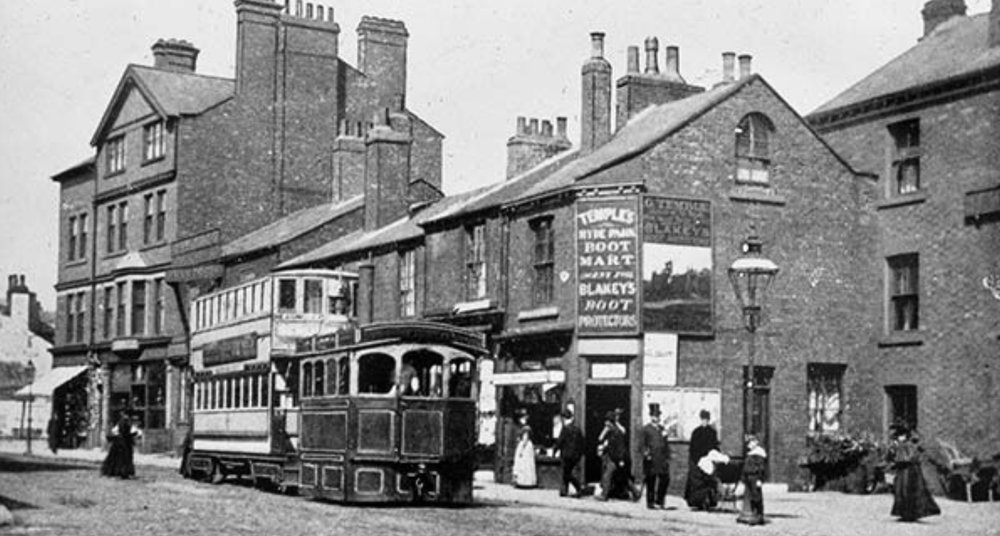 Steam Tram, on Headingley Lane, at Hyde Park Corner, 1890