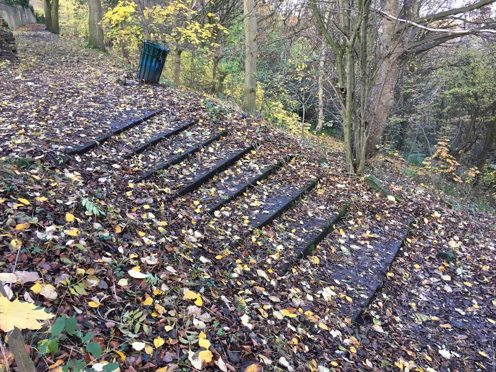 Steps to site of former Belvedere, Woodhouse Ridge © RT