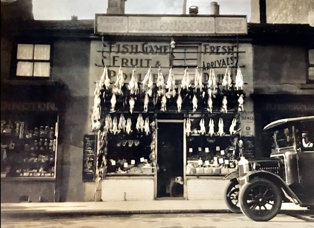 Addison's fish, game, fruit and poultry shop, Otley Road, 1920s