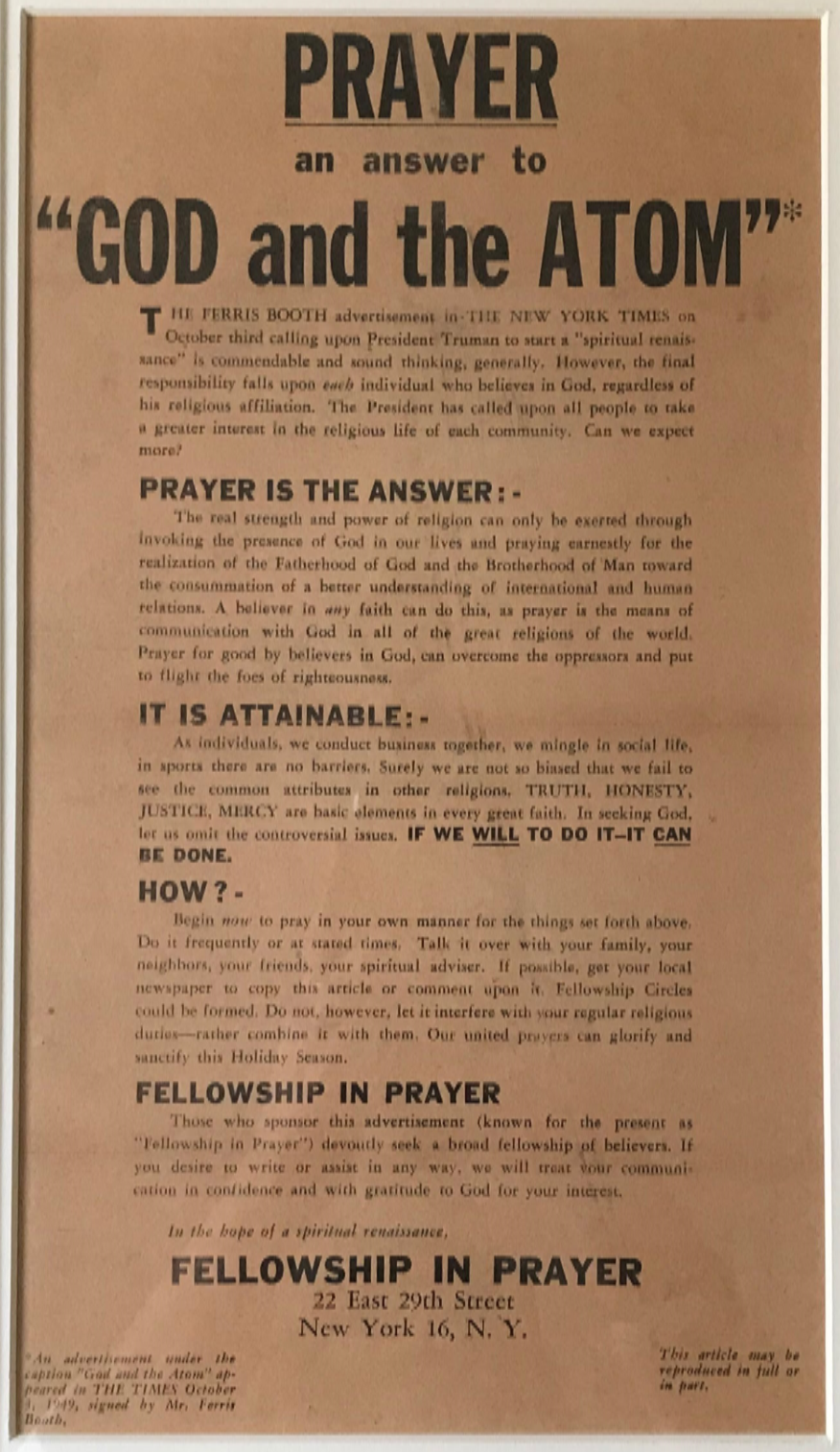 Prayer and the ATOM
