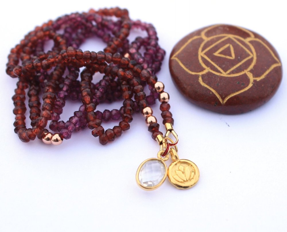 Garnet with Lotus Pendant Sacred Necklace