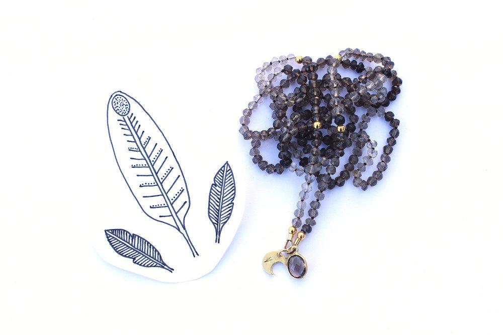 Smoky Quartz with Moon Pendant Necklace