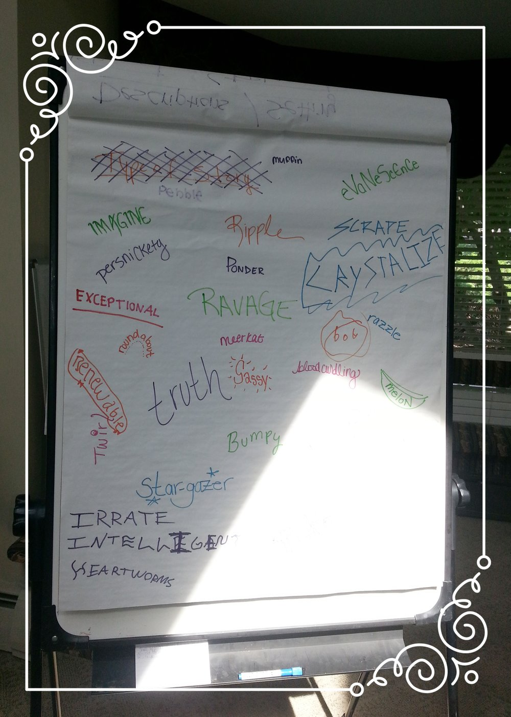We Love Words! - one exercise we workshop together is collecting words: interesting, unusual, and common words. Words we love the sound of. Words we love to shout or whisper. Words that make us laugh out loud, or give us a crystal clear image. Words are powerful.