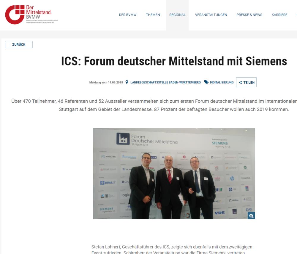 ICS: Forum deutscher Mittelstand mit Siemens - Über 470 Teilnehmer, 46 Referenten und 52 Aussteller versammelten sich zum ersten Forum deutscher Mittelstand im Internationalen Kongresszentrum Stuttgart auf dem Gebiet der Landesmesse. 87 Prozent der befragten Besucher wollen auch 2019 kommen.