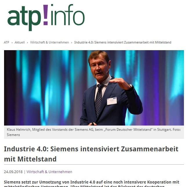 Industrie 4.0: Siemens intensiviert Zusammenarbeit mit Mittelstand - Siemens setzt zur Umsetzung von Industrie 4.0 auf eine noch intensivere Kooperation mit mittelständischen Unternehmen.