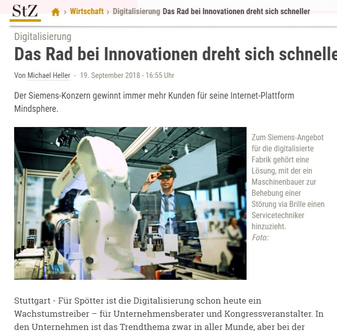 Das Rad bei Innovationen dreht sich schneller - Der Siemens-Konzern gewinnt immer mehr Kunden für seine Internet-Plattform Mindsphere.