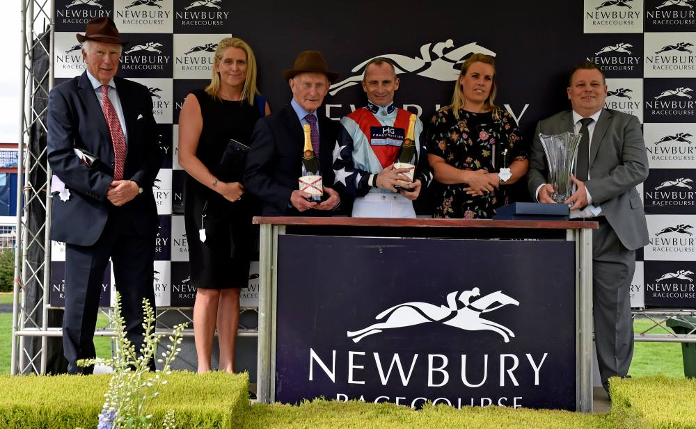 Hannah Henney, Julie May and Tom Frost representing Ladyswood Stud at the trophy presentation yesterday  Photo by Francesca Altoft photography
