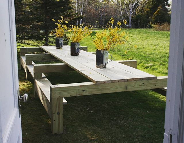The Gathering Table.  With springs arrival and warmer days nearing we start thinking about getting outside, uncovering that grill, and bringing on the potluck. I think this is a proper size table to kick off the season with good friends!! . . . . . #gather #gatheringtable #grillingseason #handmade #dineoutside #stylehome #exteriordesign #woodisgood #wooddesign #womeninwoodworking #creativityfound #madeinmaine #makersgonnamake #handsandhustle #islandmade #ladyboss #furnituredesign #livesimply #forsythia #alfresco #enjoy #designermaker #coastalliving #thewaylifeshouldbe #northhavenmaine #newenglandlife #spring #gettogether #furnituredesign #woodworking