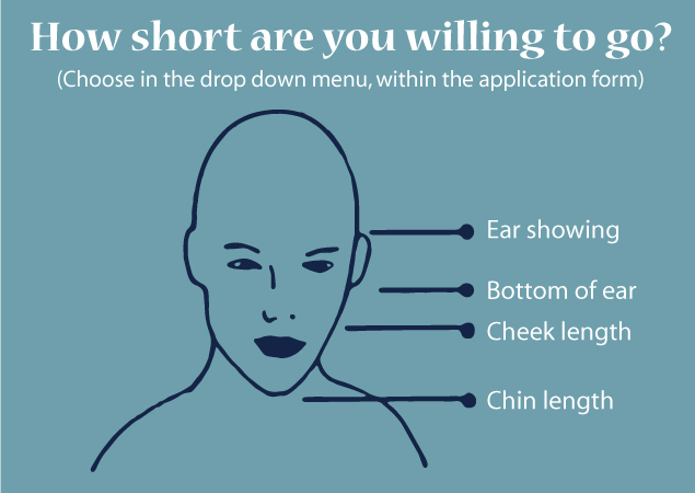 Diagram refers to a hair cut length question within the form. Please select your answer there.