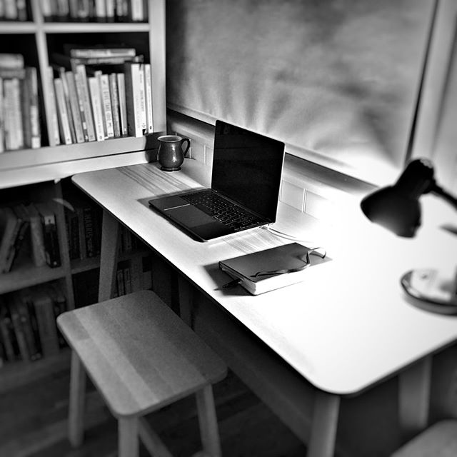 Back to work.⠀ This is my new writing space for 2019.⠀ Minimal.⠀ Functional.⠀ Friendly.⠀ .⠀ .⠀ But that means the posts will be skewed back to work and creative environments.⠀ .⠀ .⠀ .⠀ #backtowork #authorlife #authorsofinstagram #author #noir_shots #blackandwhite #simple #simplicity #minimalism #minimalist #creativity #iphoneblackandwhitephotography #creativespace #create175 #designlife⠀ #lean⠀ #leanwork⠀ #leanwriting⠀ #leancreativity⠀ #workspacedesign⠀ #designyourworkspace⠀ #bookstagram⠀ #thrillerbooks ⠀ #cottage⠀ #tidyhousetidymind ⠀ #jonkaine⠀ #freethrillers ⠀ #tidyhousetidymind