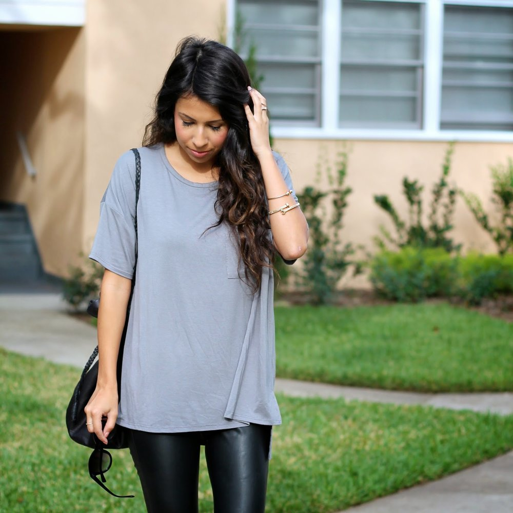8e14f12f24 styling tennis shoes, holiday shopping outfit, casual outfit, leather  pants, nike frees