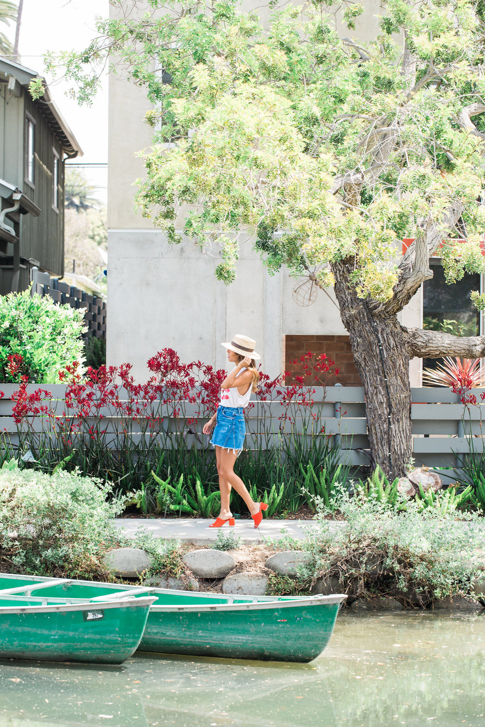 venice canals, how to wear denim skirt, bright slides for summer