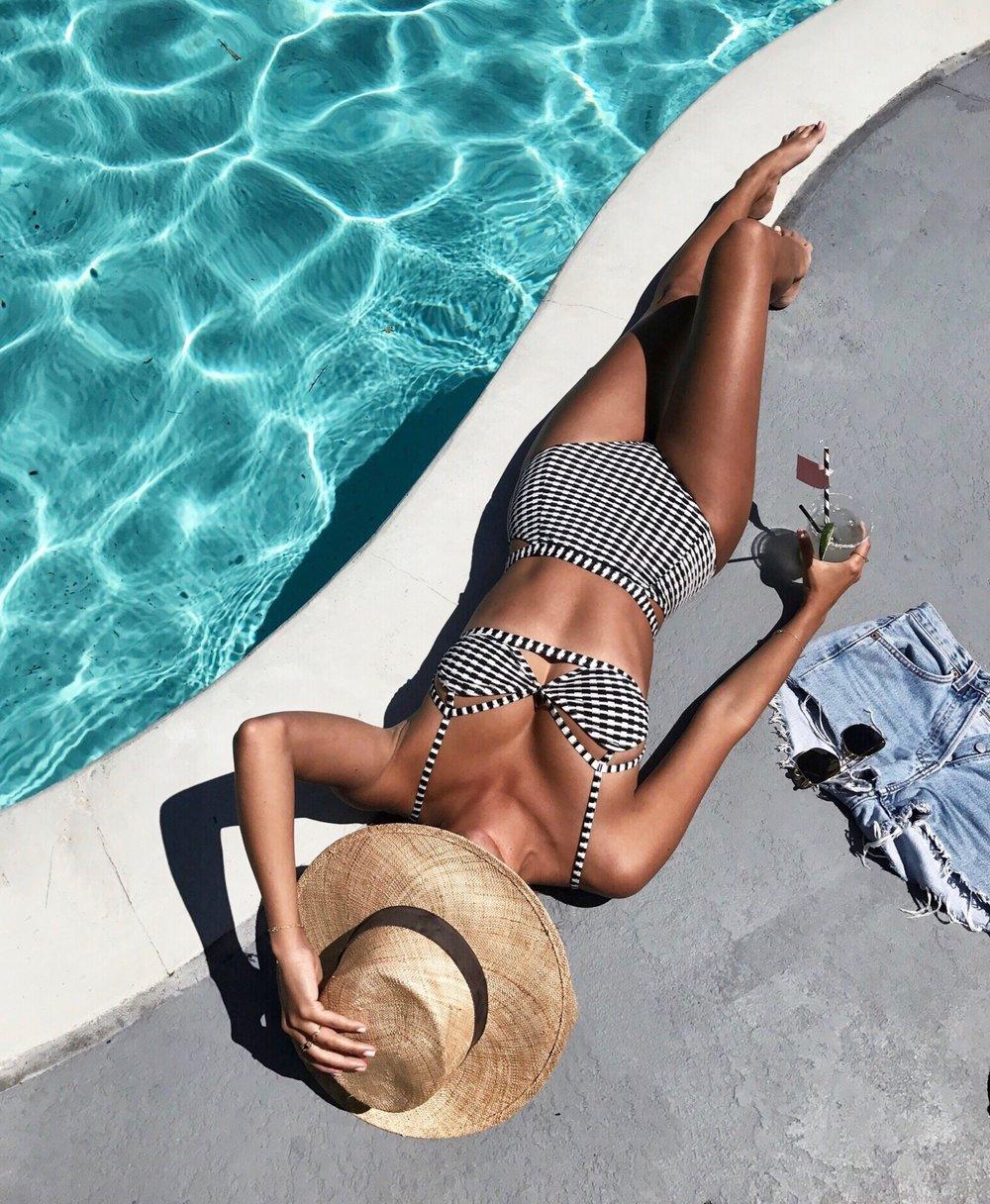 gingham bikini, summer 2017 swim styles, W hotel Los Angeles