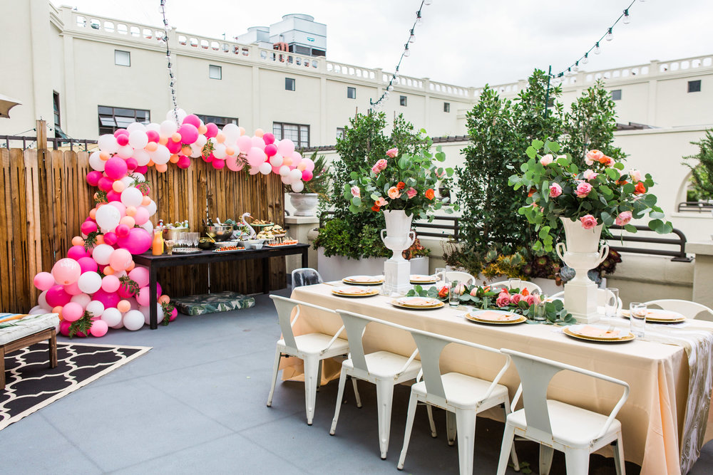 Los Angeles Rooftop Baby Shower ft. Winc, For Your Party, and Balloon Garland