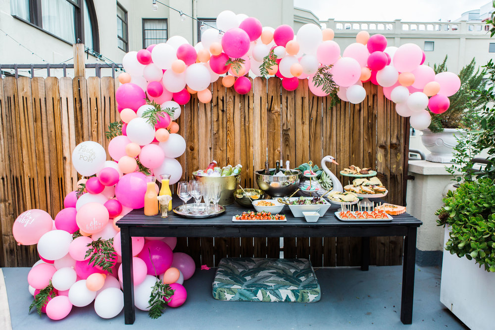 pink and coral balloon garland