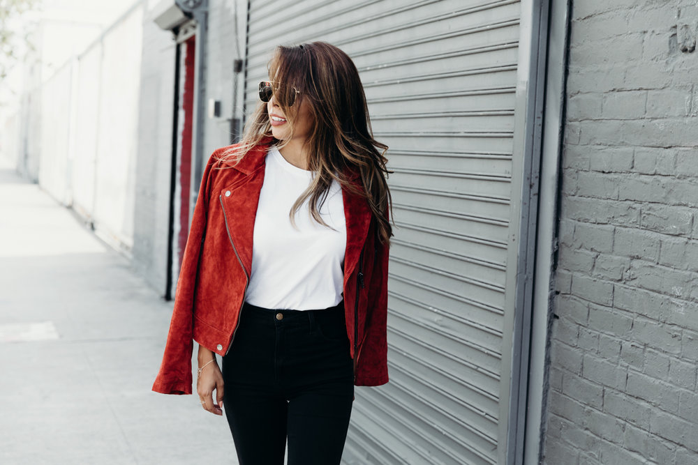 suede jacket BLANKNYC, how to wear high waisted jeans