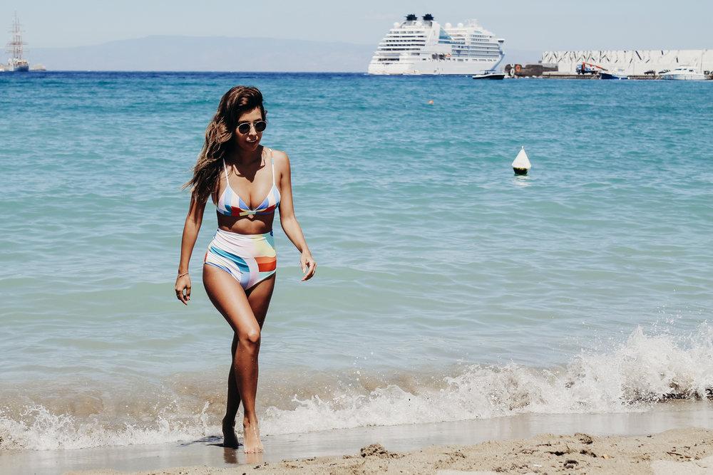 Mara Hoffman high waist bikini, visiting Sicily, European Cruise