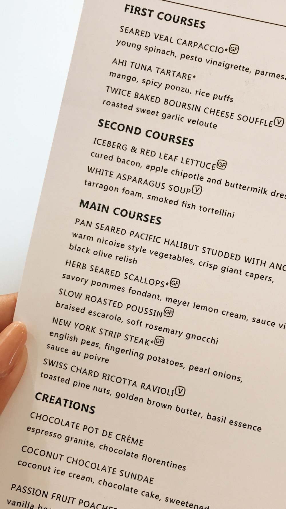 Seabourn Cruise Menu