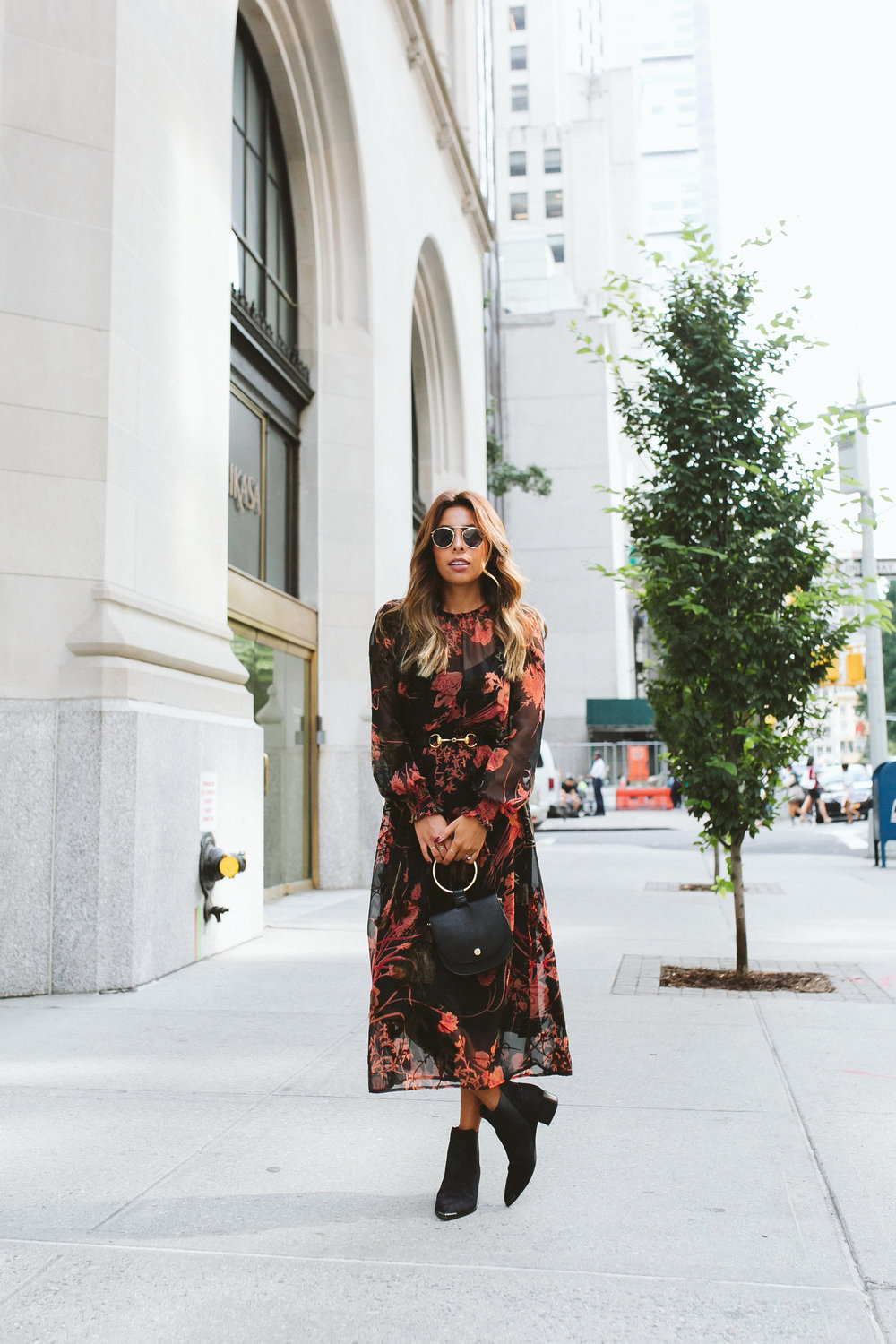 fall floral zara dress, how to transition outfit for fall, gucci belt