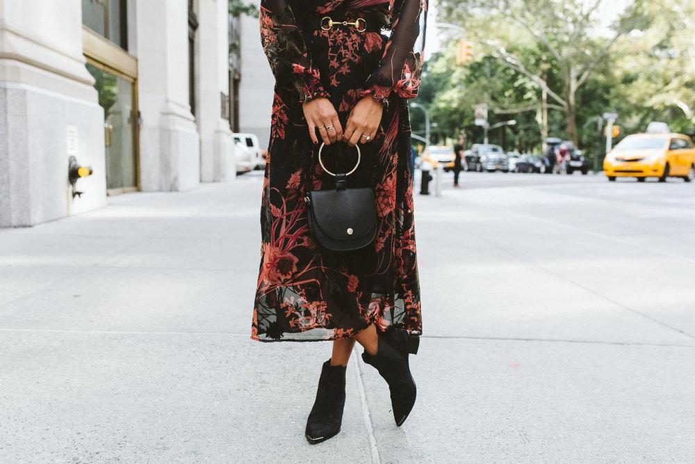 how to wear booties with dress, zara fall dress