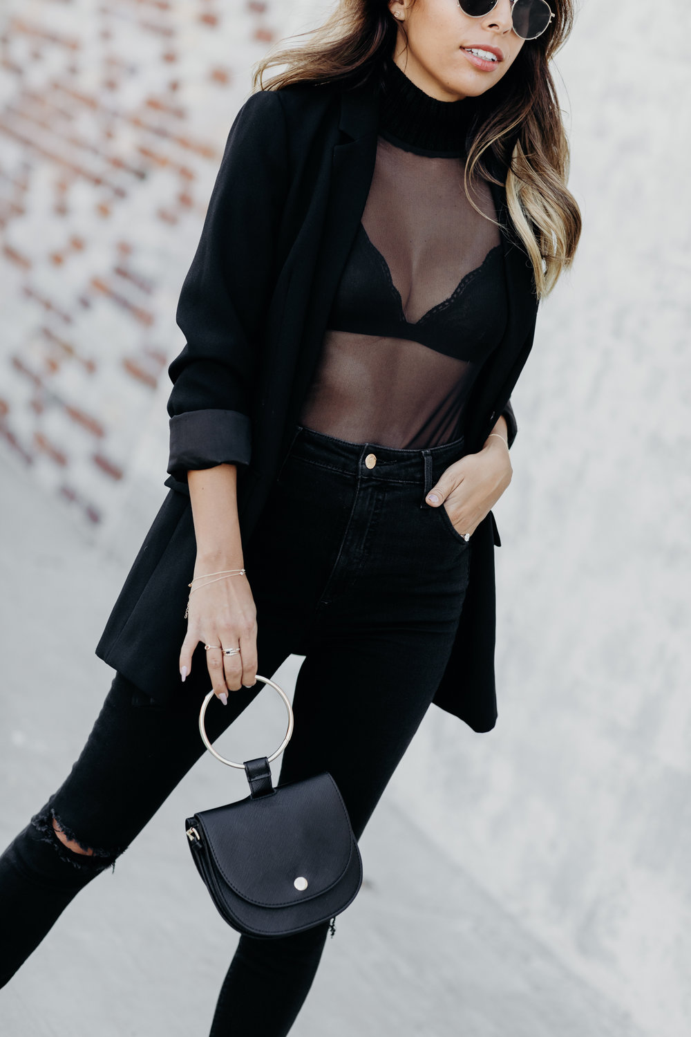 how to wear bralette with sheer top