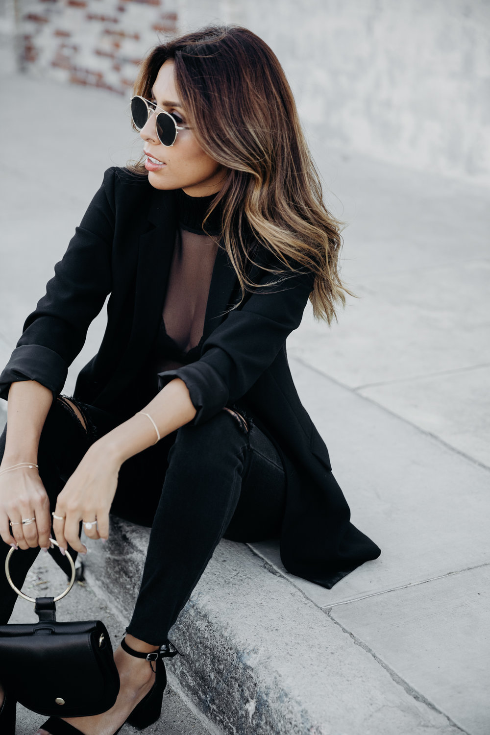 everyday pursuits all black holiday outfit, zara top